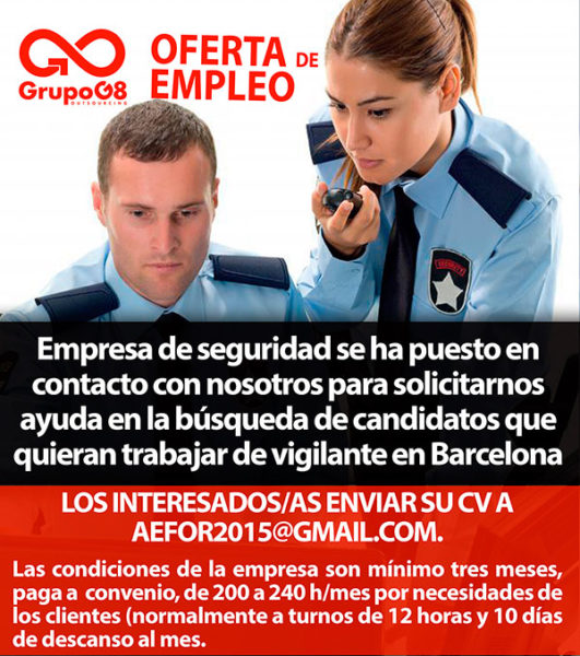 Asistir capacidad compañero  Oferta de Empleo para Vigilante de Seguridad Privada en Barcelona - Grupo G8